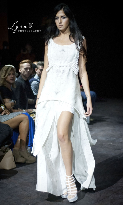 Justin LeBlanc fashion show white dress