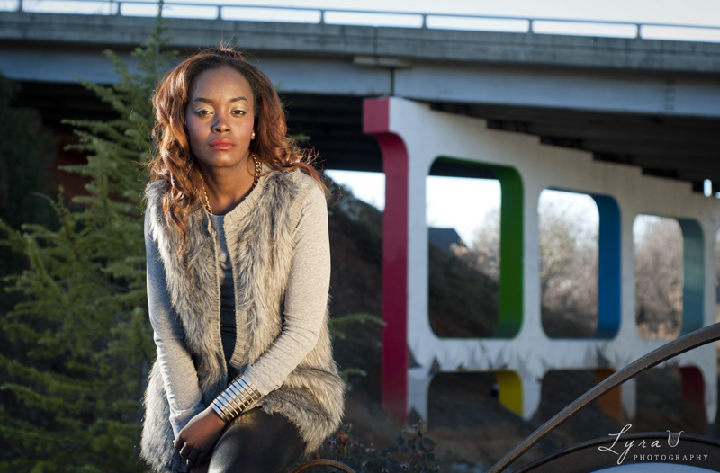 Model Brittany at ColorHaus overpass, Downtown Greenway