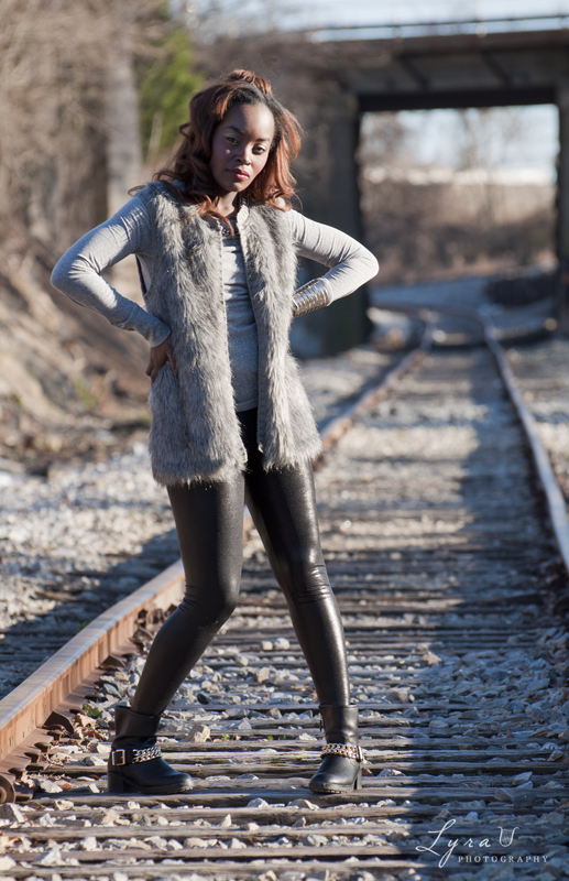Model Brittany on railroad tracks